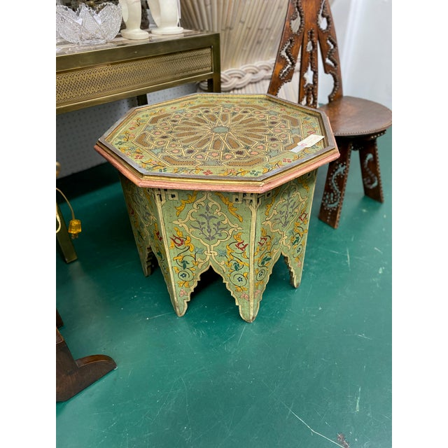 1970s 1970s Moorish Octagonal Hand Painted Accent Table For Sale - Image 5 of 9