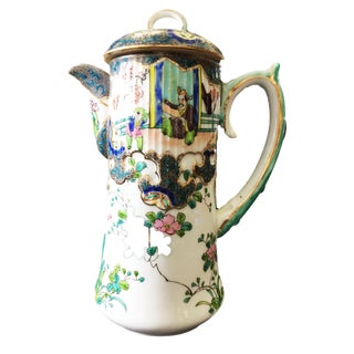 "Old H Painted Asian Porcelain Tea Pot 8.75"" H For Sale"