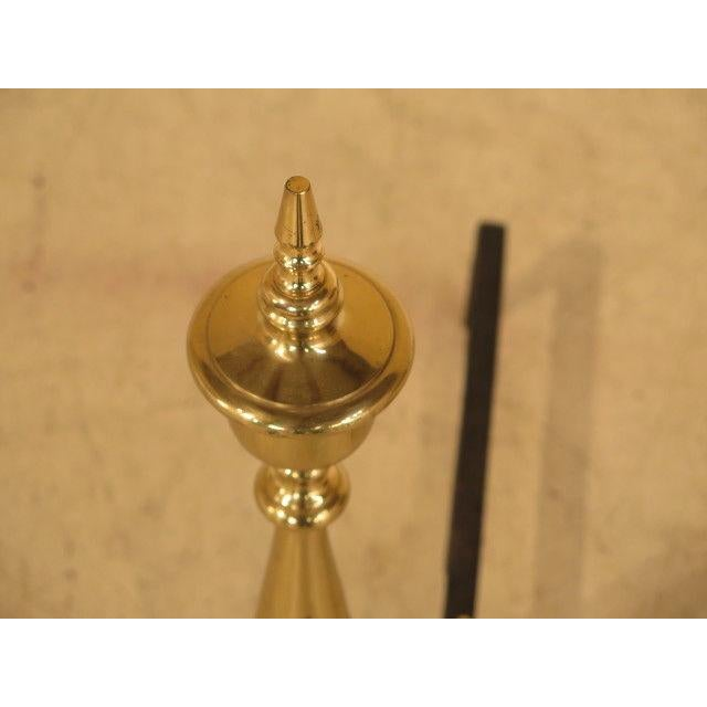Federal Style Brass Fireplace Andirons - a Pair For Sale In Philadelphia - Image 6 of 10