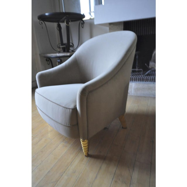 Art Deco Maison Jansen Refined Pair of Chairs With Gold Leaf Carved Legs For Sale - Image 3 of 5