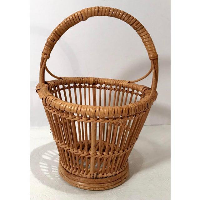 Wood Vintage Handled Basket For Sale - Image 7 of 7