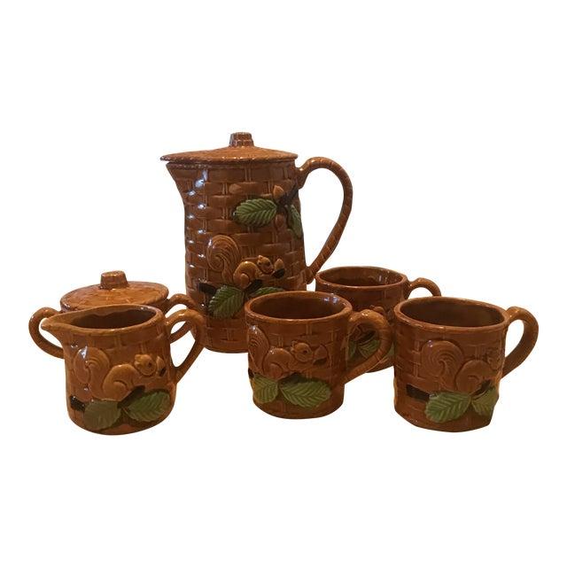 Vintage Squirrel Tea Set Japanese Pottery For Sale