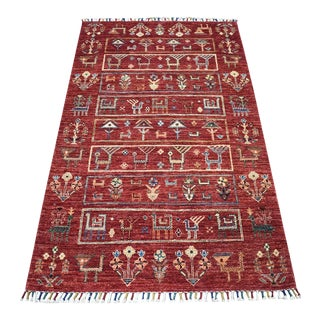 KashkuliDesign Red Kazak Geometric Hand Knotted 100% Wool Orient For Sale