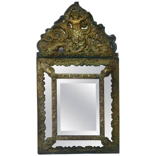 1880s French Napoleon III Repousse Brass Parecloses Mirror