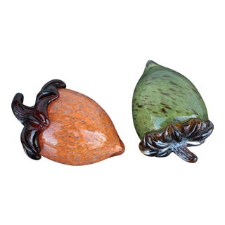 Art Glass Acorn Paperweights - a Pair For Sale