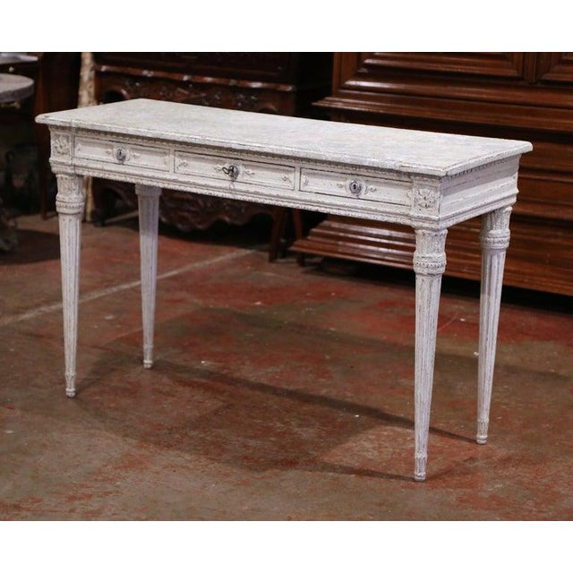 19th Century French Louis XVI Carved Painted Table Console For Sale - Image 9 of 13