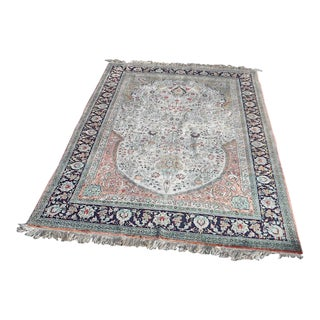 "Very Fine Vintage Handwoven Silk Persian Tabriz Prayer Rug-400 Kpsi-4'6"" X 6'9"" For Sale"