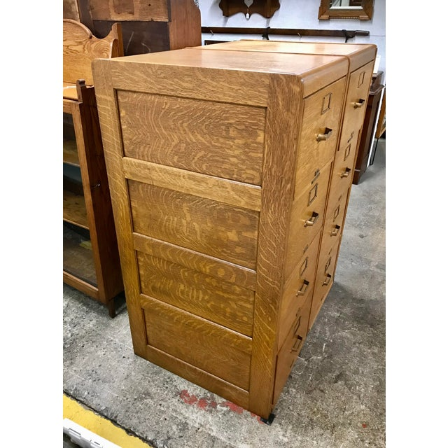 Antique Library Bureau Sole Makers Tiger Oak Double Filing Cabinet For Sale - Image 4 of 8