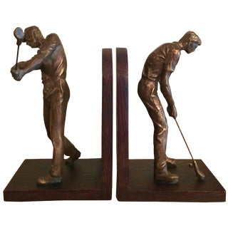 Pair of Bookends With Phenomenal Three Dimensional Golfer For Sale