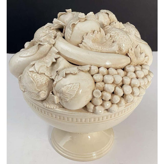 Italian Creamware Tureen or Bowl on Pedestal With Mixed Fruit Topiary Top For Sale - Image 9 of 13