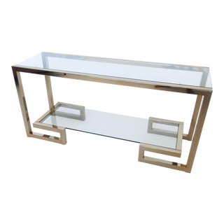 Brass Milo Baughman Style Console With Two Shelves, 1970s For Sale