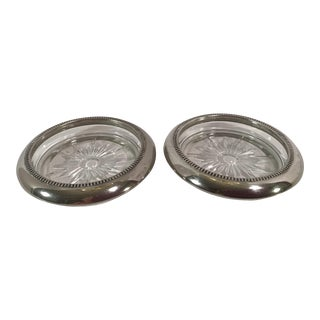 Silverplate Rimmed Glass Coasters - a Pair For Sale