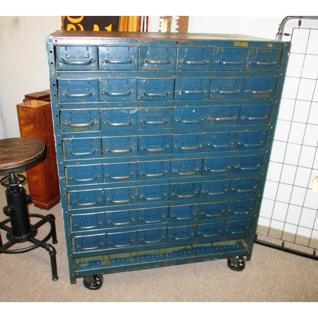 Industrial Vintage Industrial Equipto Muti Draw Parts Cabinet For Sale - Image 3 of 13