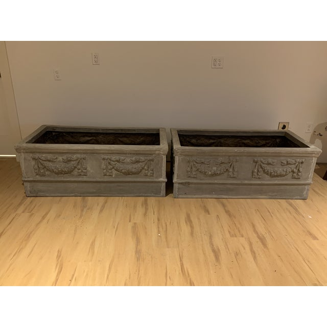 Grand Classical Planters With Swag Detailing in Faux Lead Resin - a Pair For Sale - Image 9 of 10