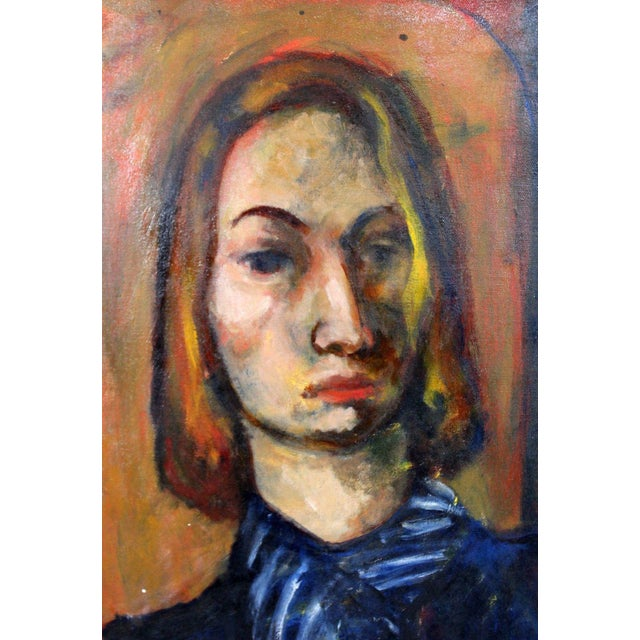 Mid 20th Century Framed Oil on Canvas Portrait Painting Signed by Annette Dufresne For Sale - Image 5 of 10