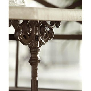 20th Round French Style Cast Iron Base With Marble Top Garden Table or Bistro Table Preview