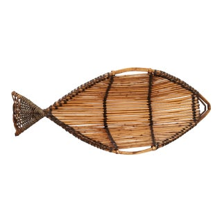 Large Fish Shaped Bamboo Basket For Sale
