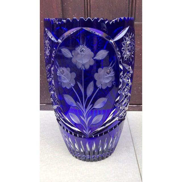 Vintage Czech Bohemian Blue Cut Glass Floral Vase Chairish