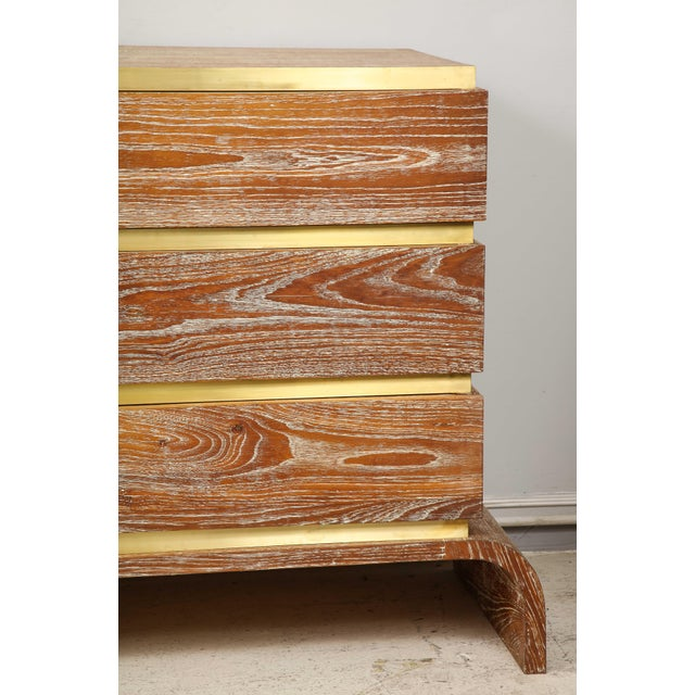VIntage Sculptural Cerused Oak Chest With Brass Trim For Sale In New York - Image 6 of 8