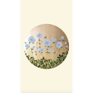 Tondi Fiori Collection Anemone Gold Circular Shaped Wallcovering on Coconut Milk For Sale