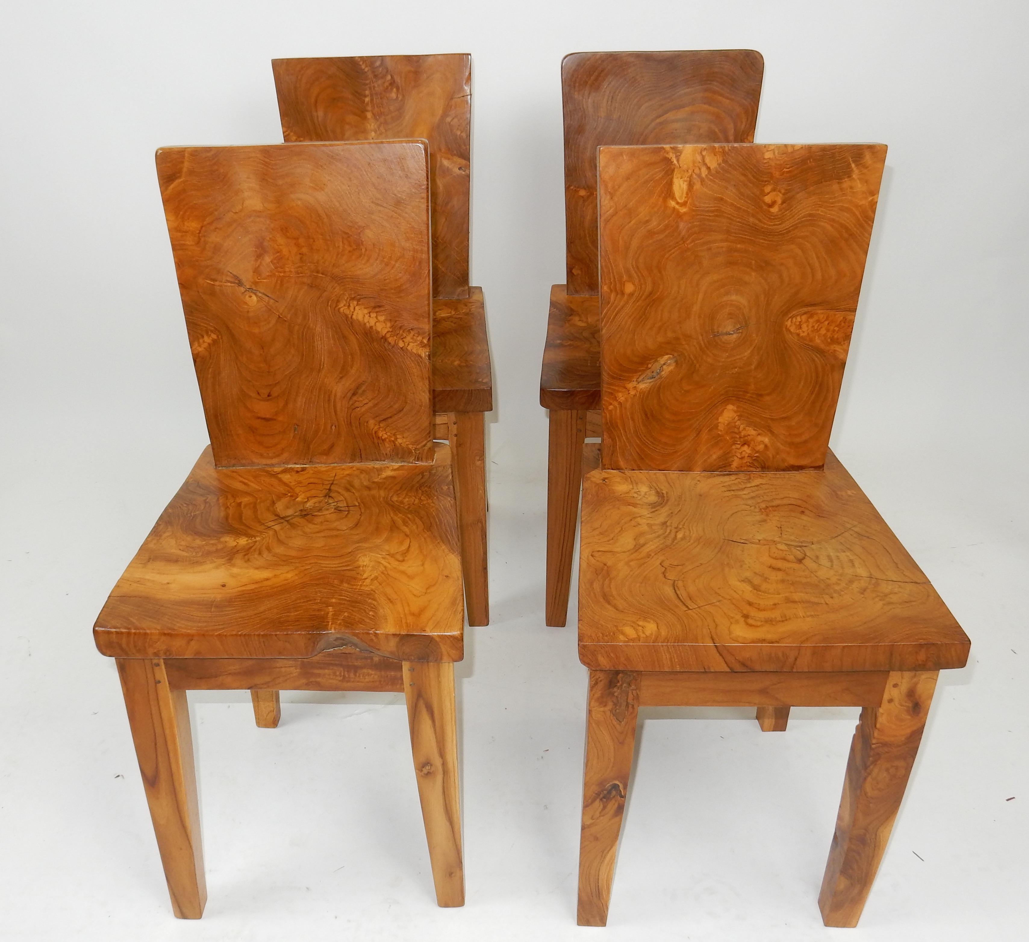 mid century nakashima style acacia burl wood plank chairs set of 4 rh chairish com Burlwood Art Deco Chair Burlwood Jewelry Box