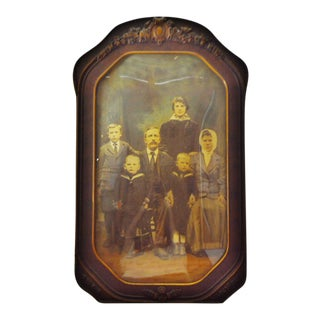 Victorian Decorative Gesso Wood Frame With Convex Glass For Sale