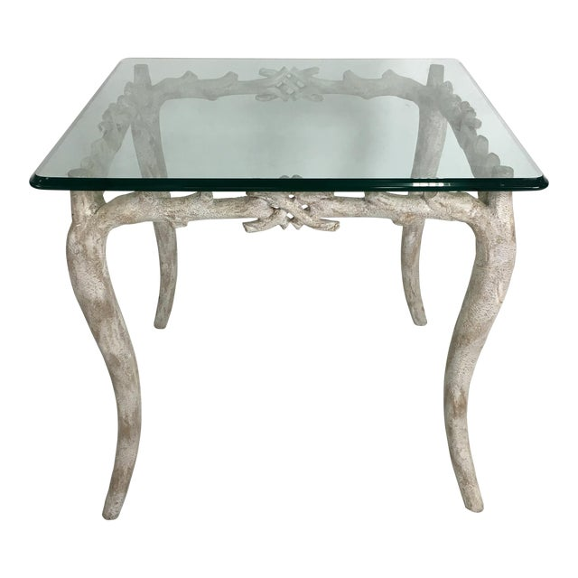 Wonderful Concrete Faux Bois Garden Table For Sale