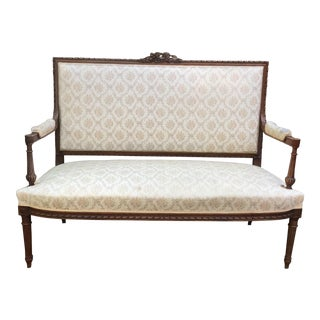 19th C. Louis XVI Style Walnut Settee For Sale