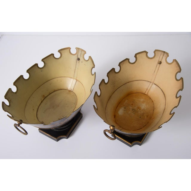 Rare Neoclassical French Tole Glass Cooler/Monteith Bowls - a Pair For Sale - Image 4 of 10
