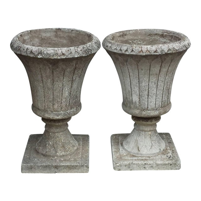 English Garden Stone Urns - a Pair For Sale