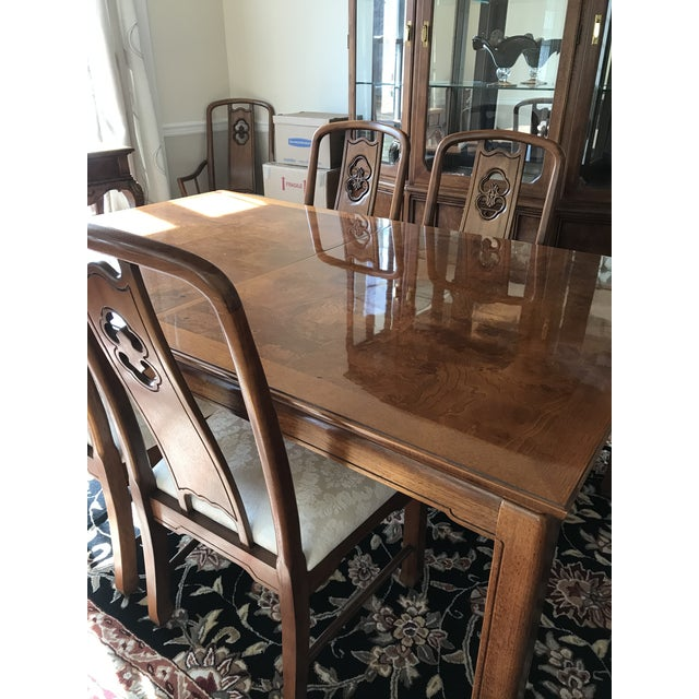 """Beautiful dining room set from Thomasville - The set includes table, two 18"""" leaves, four side chairs and two arm chairs...."""