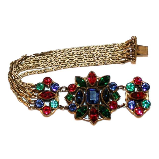 1930s Czech Jewel-Tone Faceted Bohemian Glass Bracelet For Sale - Image 4 of 6