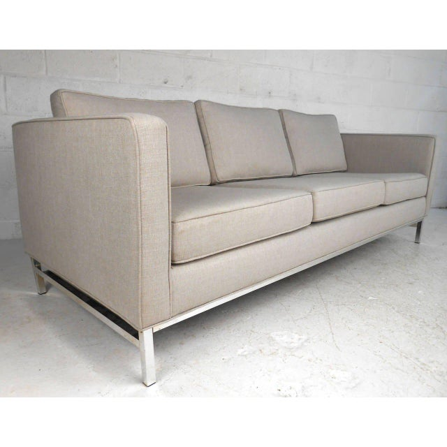 This beautiful chrome frame sofa features wonderful upholstery, and fantastic mid-century design. Uniquely long sofa makes...
