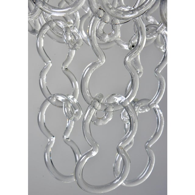 Metal Mid-Century Giogali Glass Link Chandelier by Mangiarotti for Vistosi For Sale - Image 7 of 13