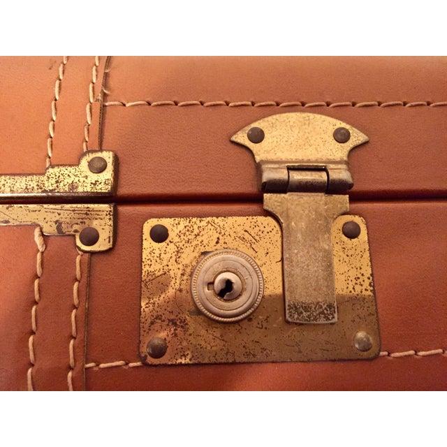 Vintage Cognac Leather Suitcase - Image 4 of 8