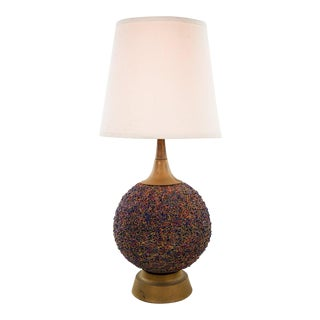 Mid-Century Modern Bronze Round Painted Table Lamp For Sale
