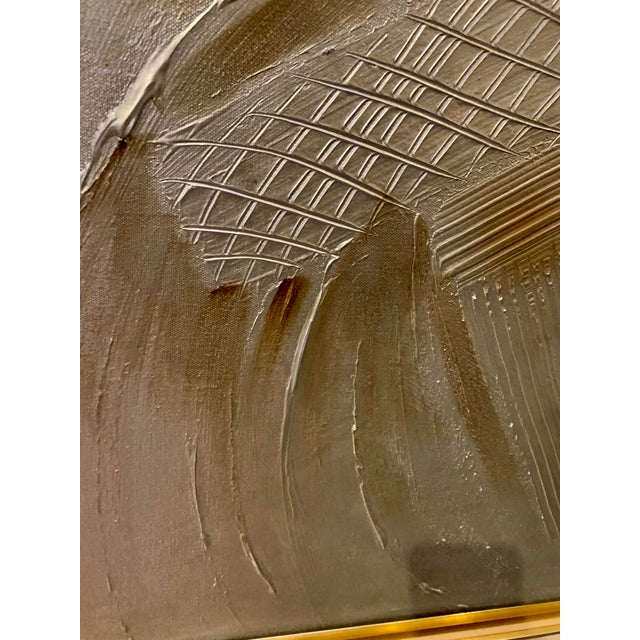 Vintage Mid-Century C. Frederick Metallic Abstract Painting For Sale In Sacramento - Image 6 of 9