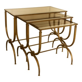 1960s Art Deco Brass and Smoked Glass Nesting Tables - 3 Pieces For Sale