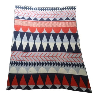 Modern Handmade With Repuposed Cotten Reversible Retro Style Throw Blanket For Sale
