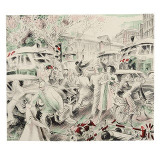Lithograph of Paris Traffic Scene 1950's by Jean Chieze For Sale