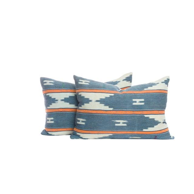 Vintage Blue Ikat Pillows - A Pair For Sale