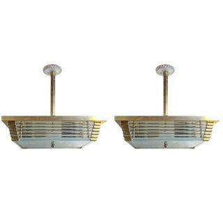 Pair of Mid-Century Modern Brass and Glass Pendant Lights For Sale