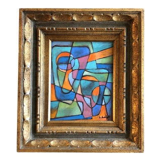 "Original Contemporary Stephen Heigh Abstract ""United"" Painting Vintage Frame For Sale"
