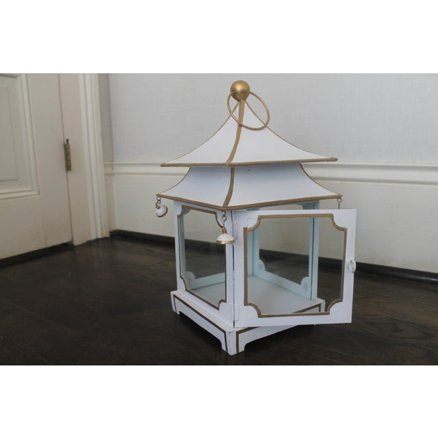 2010s Cream and Gold Pagoda Shaped Lantern For Sale - Image 5 of 8