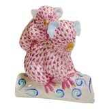 Image of Herend Koala Figurine in Rasberry Pink, 24 Karat Gold With Blues and Aqua For Sale