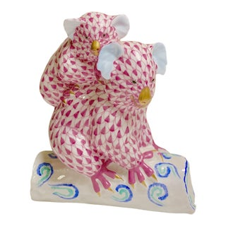 Herend Koala Figurine in Rasberry Pink, 24 Karat Gold With Blues and Aqua For Sale