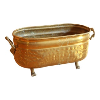 Vintage Brass Planter With Lions Feet For Sale