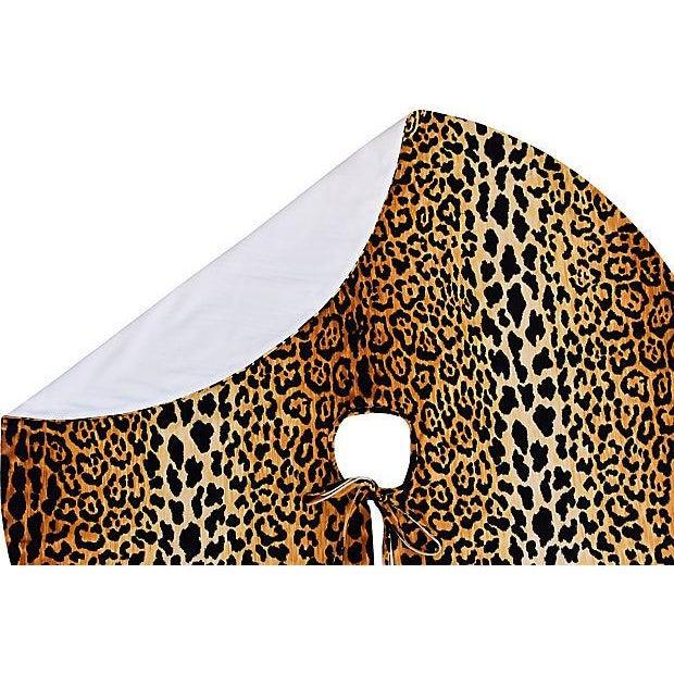 """Custom Tailored X-Large 55"""" Leopard Spot Velvety Christmas Tree Skirt - Image 7 of 9"""