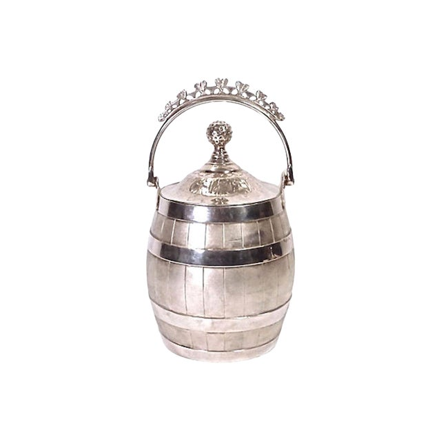 1900s Traditional Silver Plated Biscuit Barrel For Sale