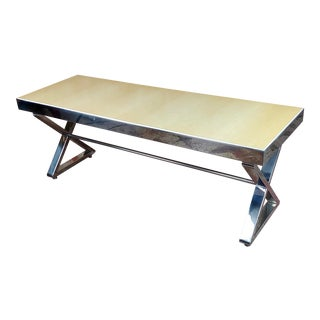 Beautiful Designer Chrome Coffee Table With Lacquered Wooden Top For Sale
